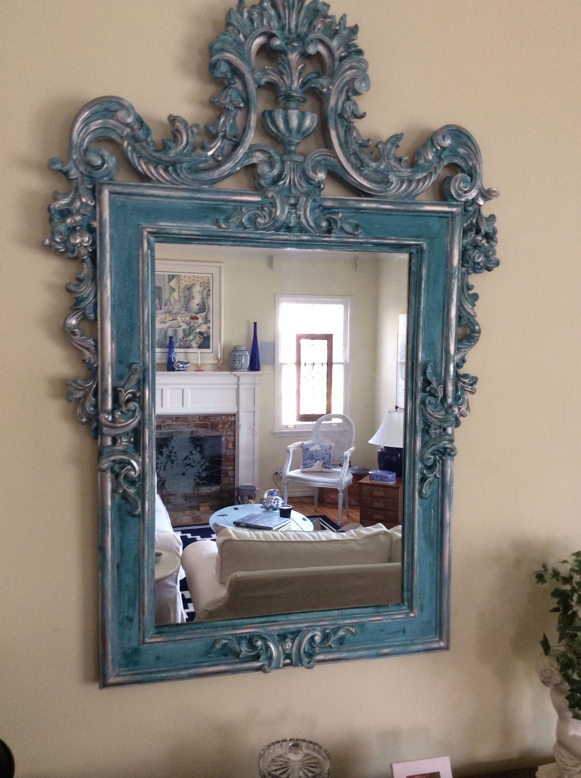 "Vintage chalk painted mirror .  I added silver touches for a bit of ""bling""."