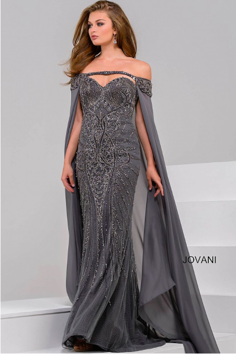 7a3f8008c3b6c Jovani 45566 Strapless beaded evening gown with a detachable chiffon cape
