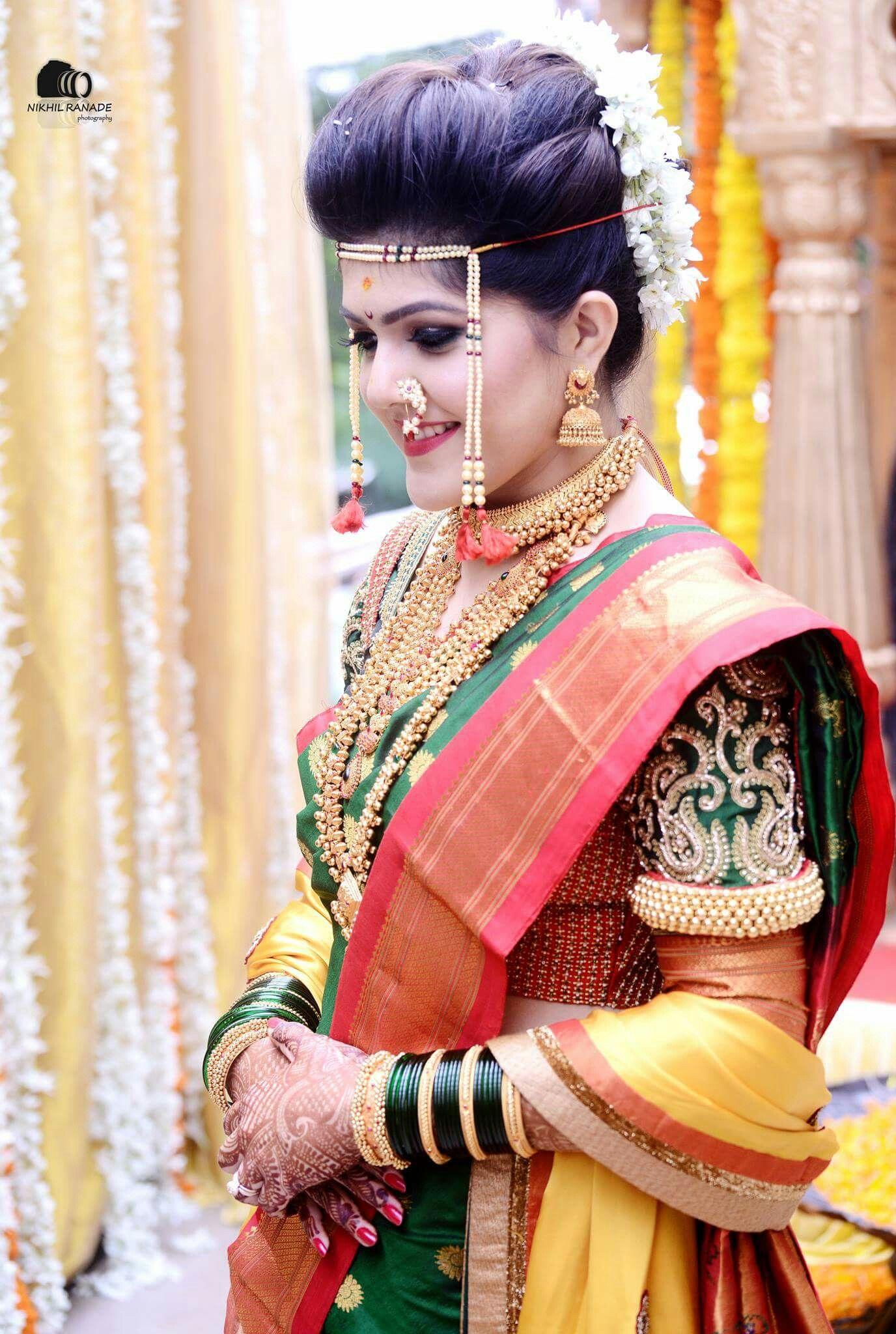 Maharashtrian wedding -Marathi couple - Nauwari saree ...  |Hindu Marathi Wedding