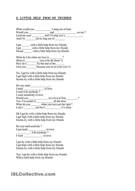 A Little Help From My Friends School Songs Songs The Beatles Help