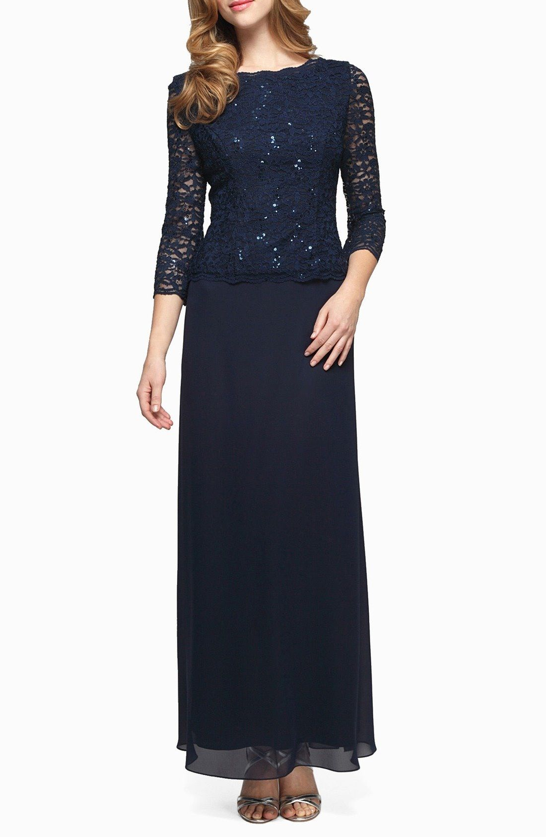 Alex evenings sequin lace chiffon gown chiffon gown