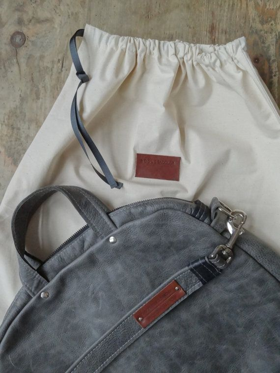 Across body style Messenger / Tablet bag -  real Italian Leather -  Distressed  grey. Internal zip pocket. Detachable chrome fastened straps