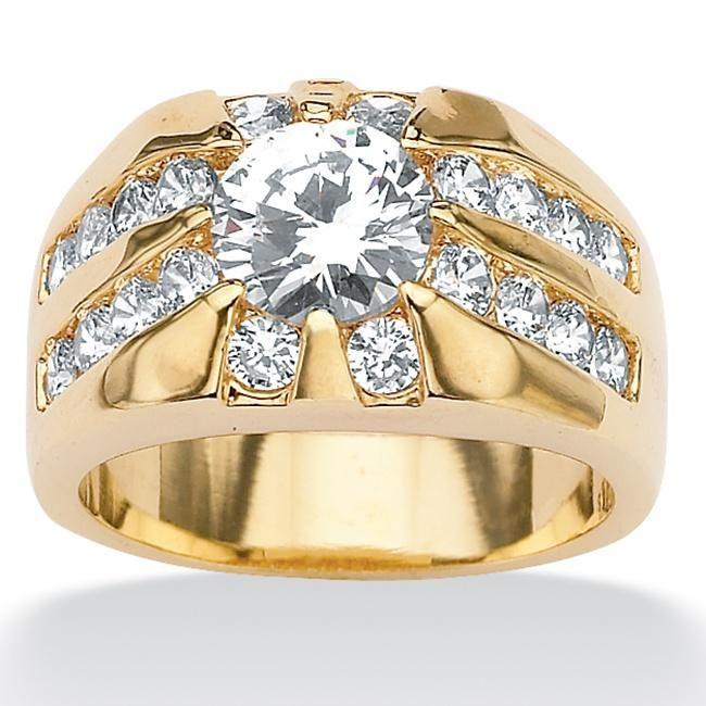 Palm Beach Jewelry PalmBeach Men's 2.95 TCW Round Cubic Zirconia RIng in Gold Tone Sizes 9-16 (Size 12), Yellow