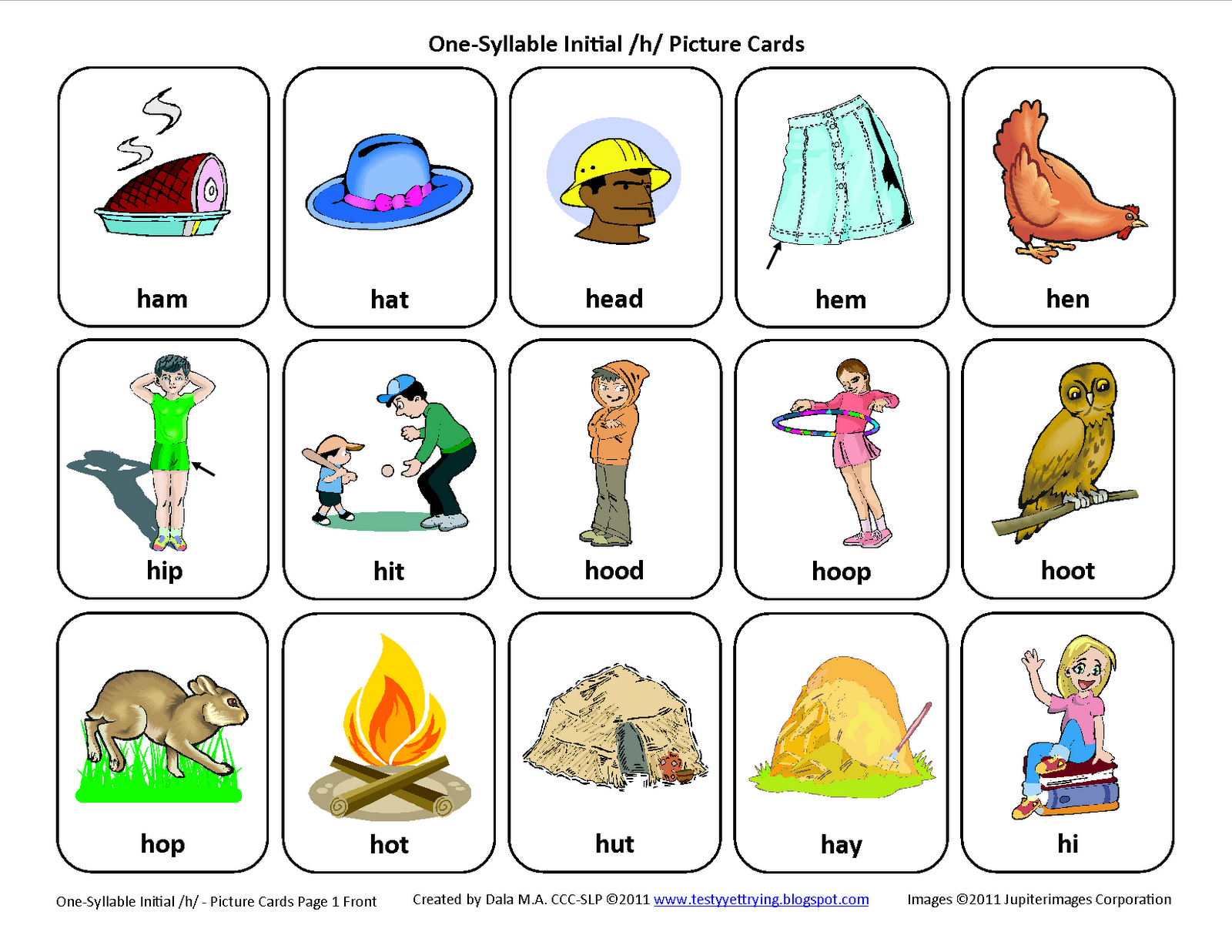 Worksheets Speech Therapy Worksheets initial h articulation card download this activities
