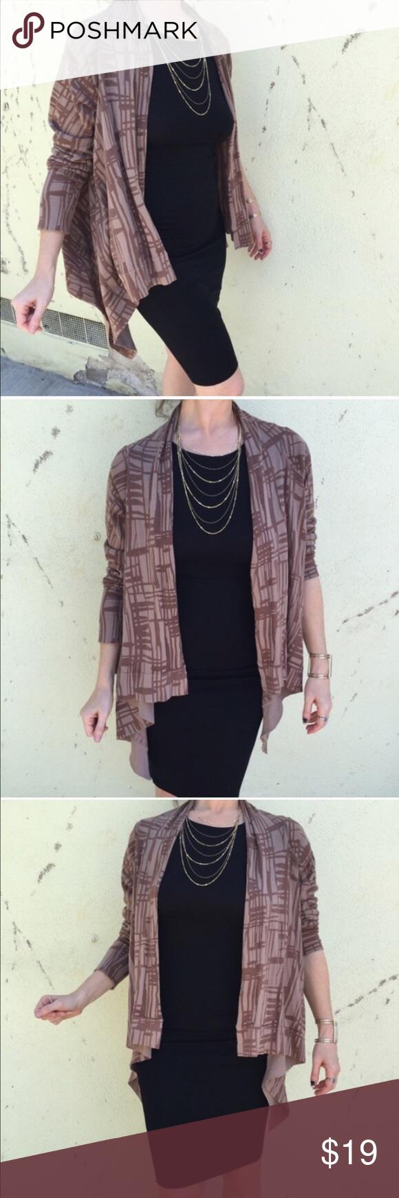 Open CARDIGAN sweater brown print Sz M/L drape Lovely mocha and ...