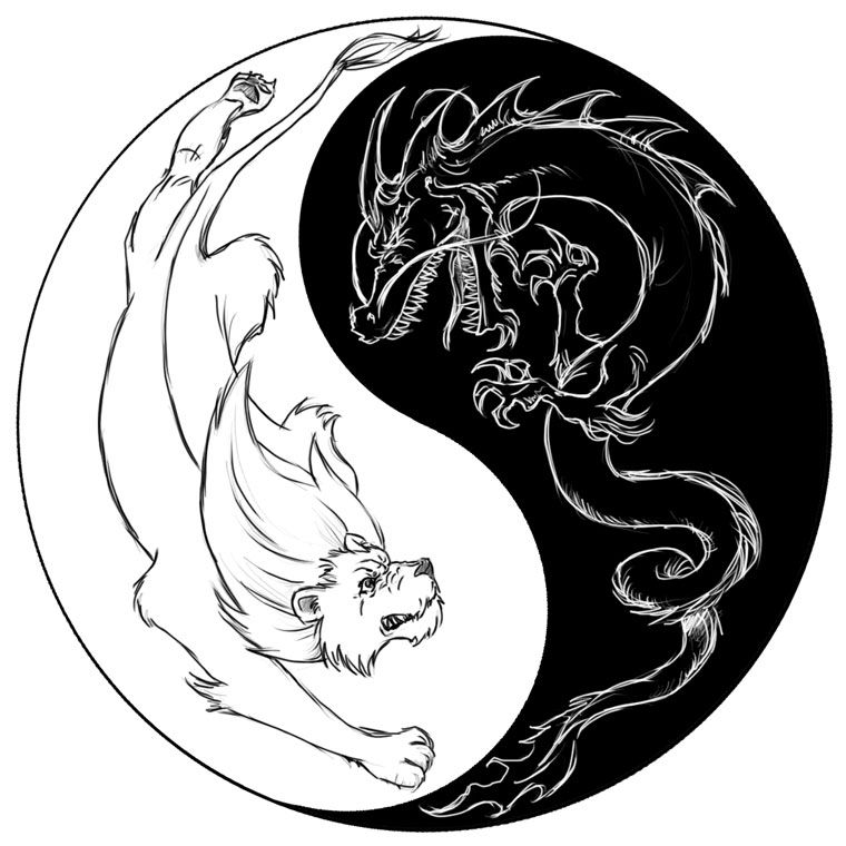 Abstract Lion With Yin Yang: Lion Tattoo, Lion Dragon