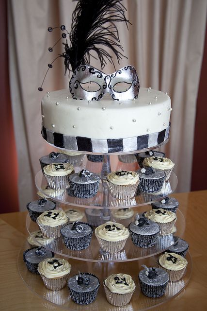 Black And Silver Masquerade Cupcake Tower In 2019