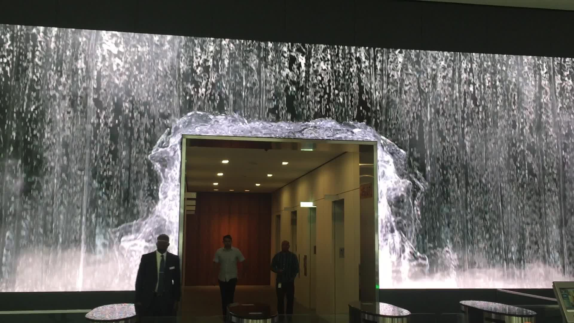 Salesforce Lobby Becomes A Water Wonderland Video Wall Wall Display Digital Signage Displays