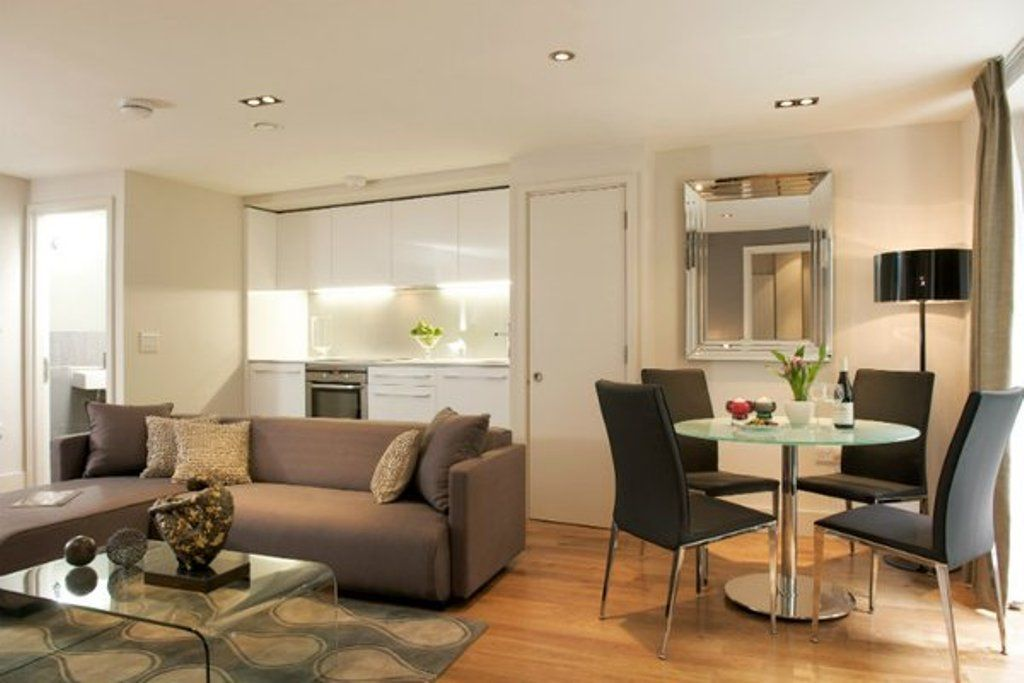Small Living Room Layout Combined With Chic Dining Design Using Contemporary Furniture Pieces And Beige