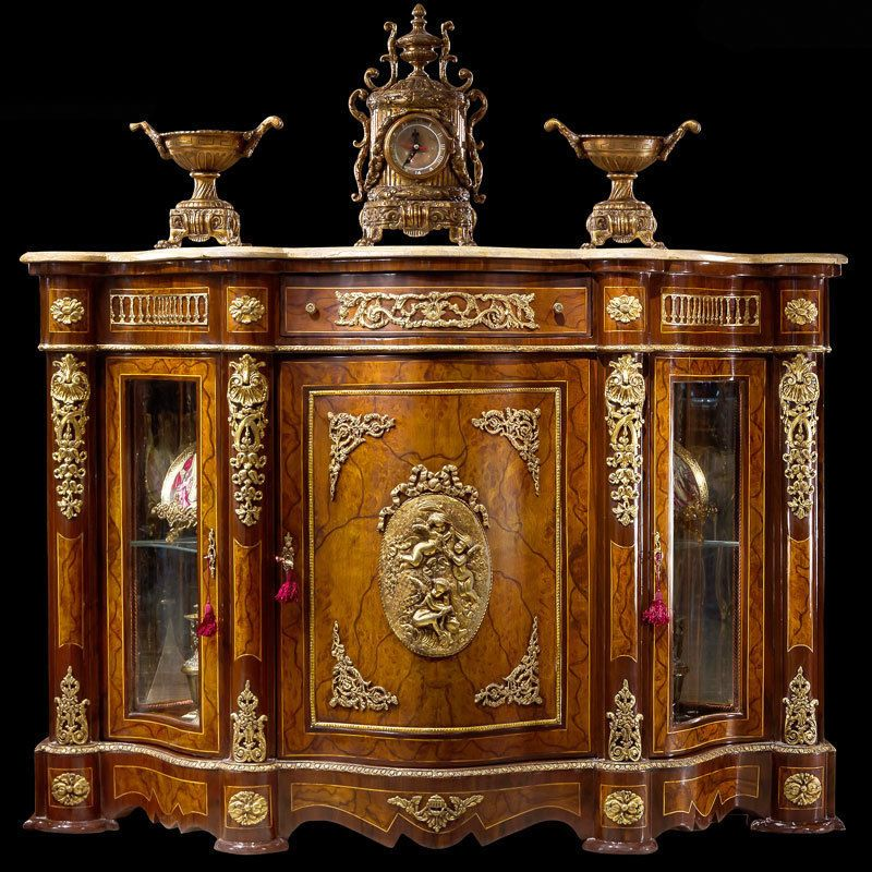 Buffet style louis xv xvi en loupe de peuplier baroque marbre bronze
