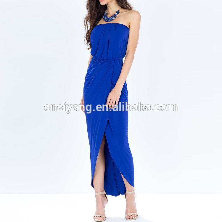 Women Night Wear Sexy Front Split Elegant Blue Sleeveless Prom Dress Pattern For Party