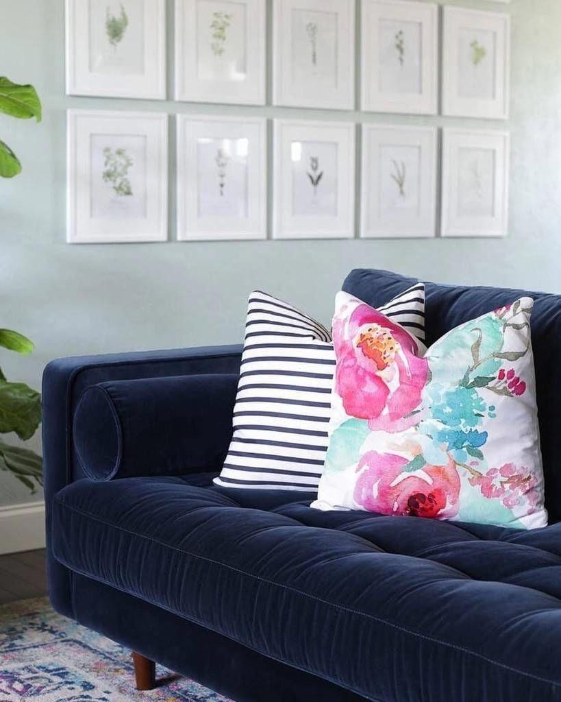 Sven Cascadia Blue Sofa Velvet Sofa Living Room Blue Velvet Sofa Blue Sofa Living #navy #blue #sofa #living #room