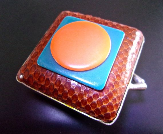 Genuine Snake Skin Pill Box, Coin Purse, Brown, Lucite Appliques, Vintage