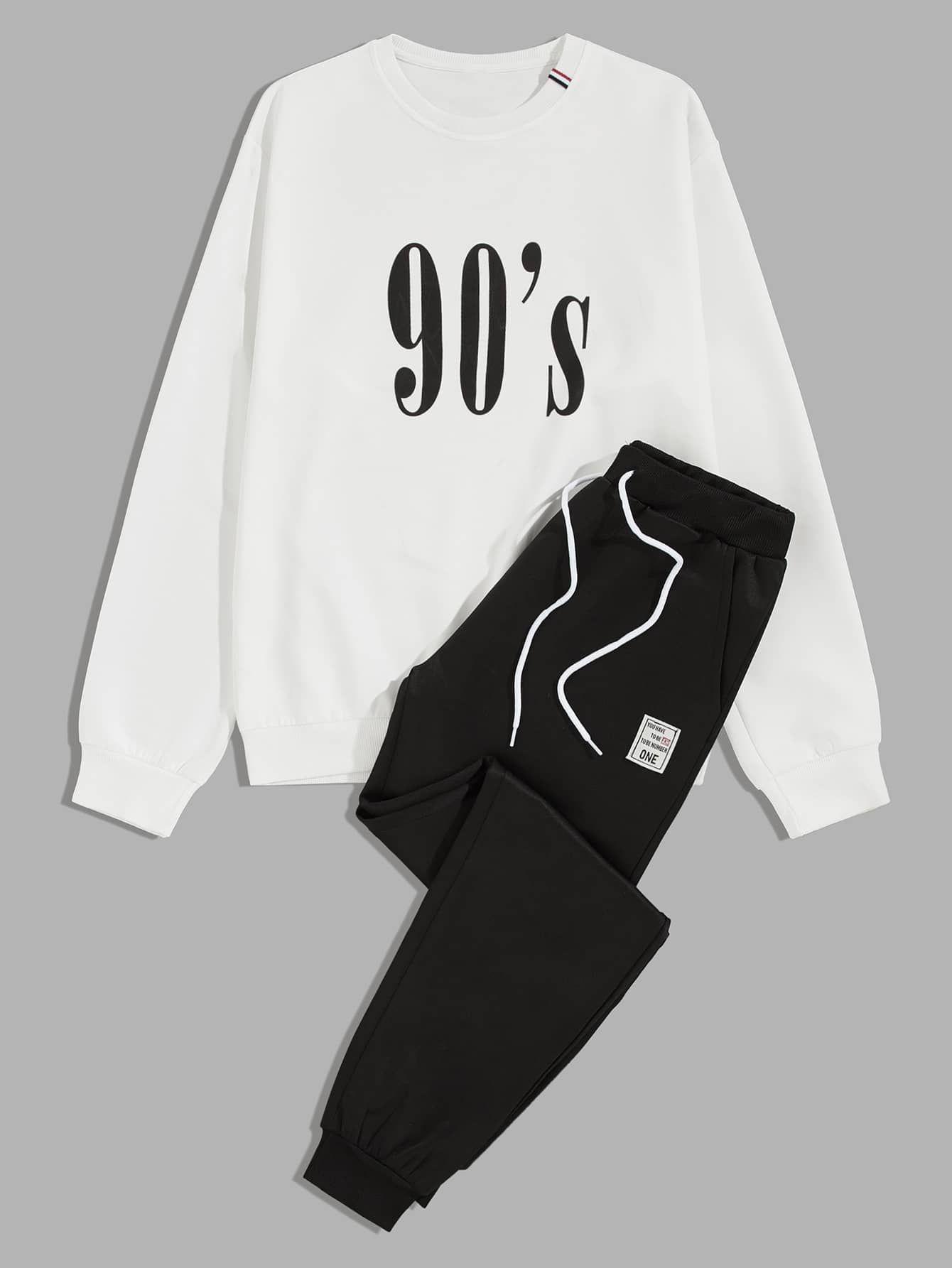 Men Letter Graphic Sweatshirt Drawstring Sweatpants Shein Usa Boys Designer Clothes Sweatshirts Hoodie Fashion [ 1785 x 1340 Pixel ]