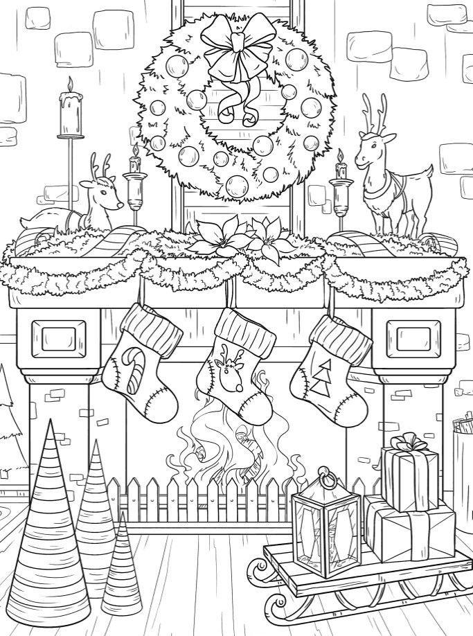 Раскраски «Новый год» - «Красиво украшенный камин с ...