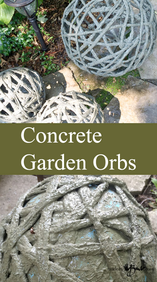 Concrete Garden Orbs  Made By Barb  Simple DIY portland cement dipped yarn or fabric formed over inflated balls or balloons is part of Concrete garden, Cement garden, Diy garden projects, Easy garden, Garden projects, Garden art - Make your own Concrete Garden Orbs with this DIY tutorial  Inflatable molds and cement dipped fabric and yarn make this an easy garden decor