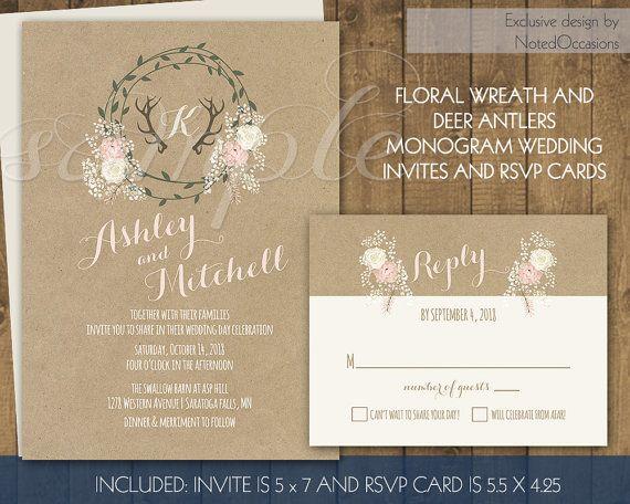 Camouflage Wedding Invitation Kits: Deer Antlers Rustic Wedding Invitation Kit RSVP Cards