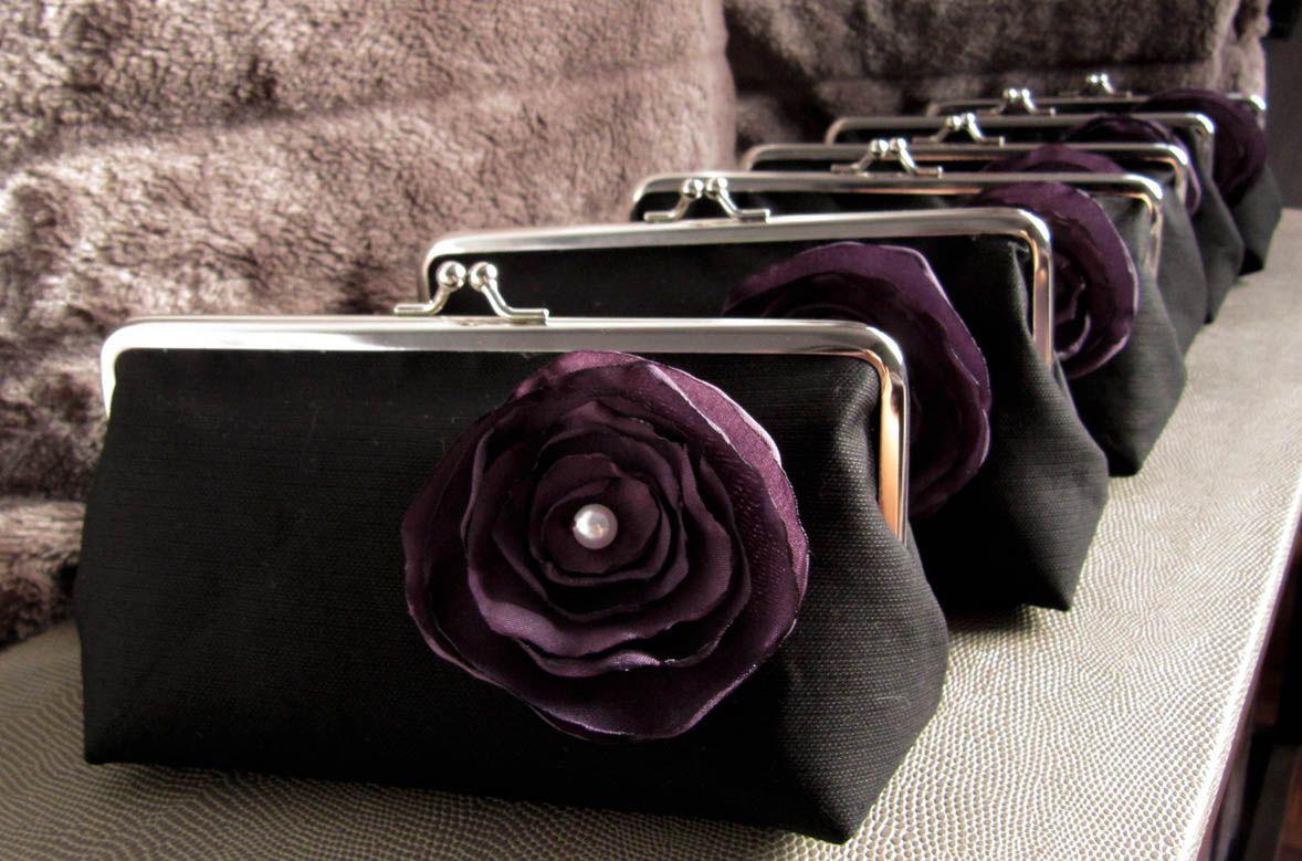 Black Clutch Purse with Purple Flower Clutch purse black