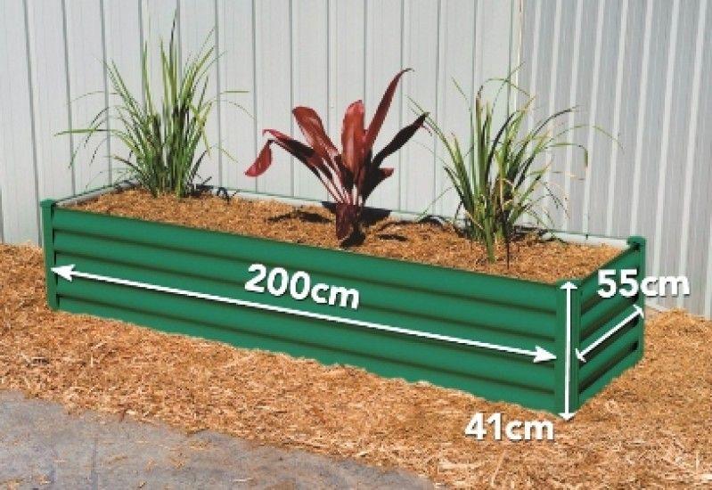 Rectangular Raised Garden Bed. Size: 200*41*55 cm. Color Wilderness Green and Paperbark White.