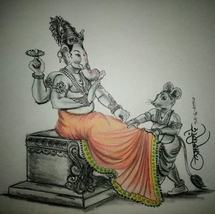 Pencil Art by Santosh Patil | Ganesha art, Ganesha sketch ...