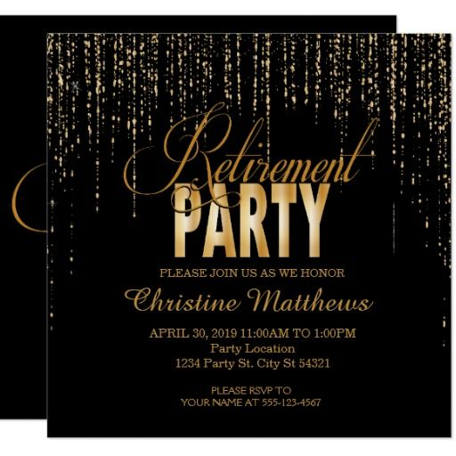 golden retirement party invitations