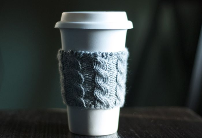 cable knit coffee snuggy.