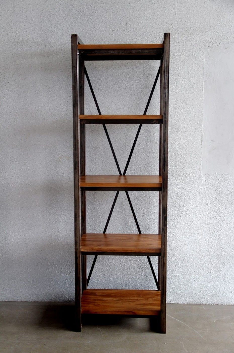 Metal And Wood Bookshelves Design With Freestanding Wooden Shelves With Series Of Metallic Iron Also Five Wood Metal Bookcase Wood Bookshelves Bookshelf Design