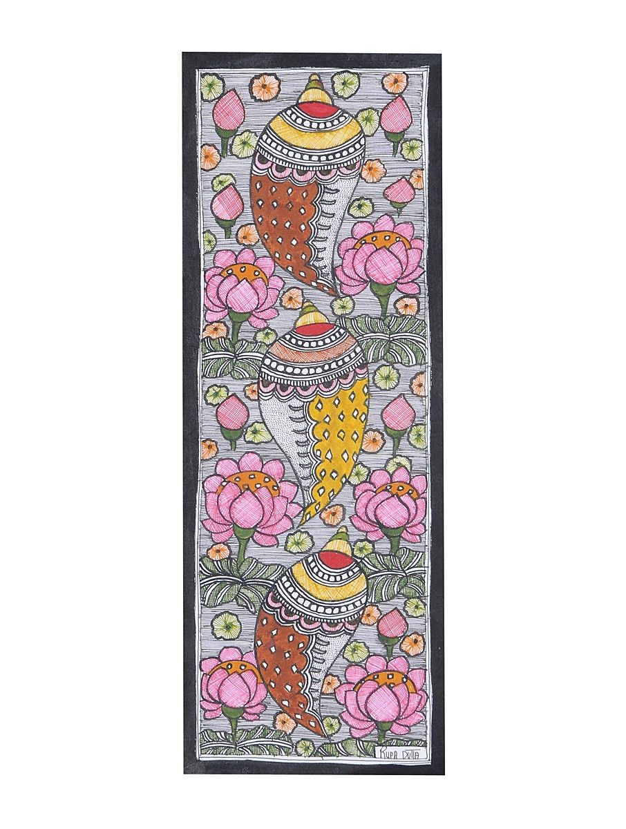 Buy Shell Shankh Painting (15in x 5.5in) Online