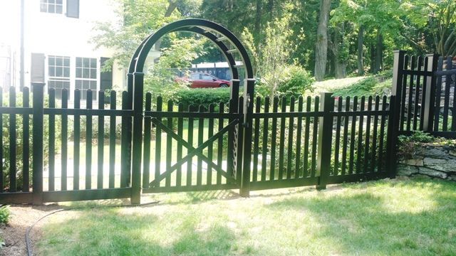 black vinyl picket fence. Black Vinyl Picket Fence With Arbor And Scalloped Walk Gate E