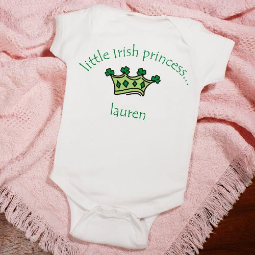 Little Irish Princess Personalized Infant Baby Creepers Honor your Little Irish Princess with this adorable Personalized Irish Creeper. She is sure to steal the show & everyone's hearts this St. Patrick's Day in her own Personalized Irish Bodysuit. Our Personalized Irish Princess Bodysuit is available on our premium 5 oz, 100% white cotton Personalized Infant Creeper with crew neck, double-needle hemmed sleeves and binding at the legs with three snap bottom. Machine washable