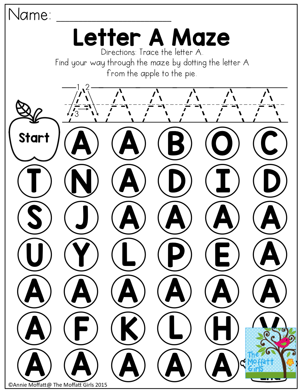 Letter A Maze Tons Of Great Printables For The Beginning