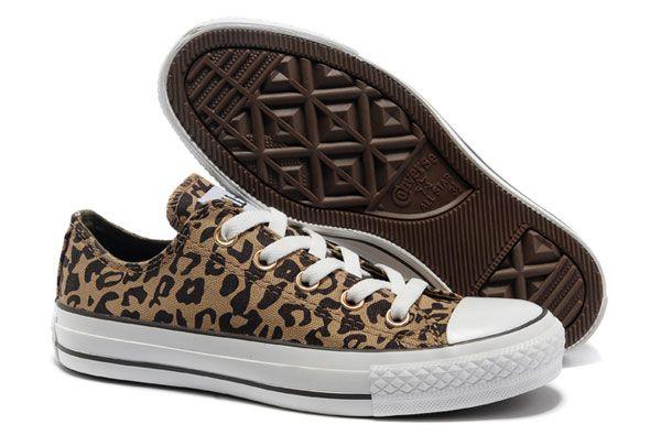 b810b6a0f343 Brown Converse All Star Leopard Print Rock N Roll Low Tops Canvas Women  Shoes