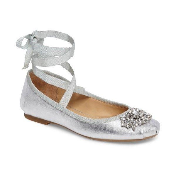 Badgley Mischka Karter Embellished Ankle Wrap Ballet Leather Flat wtBXng8Ct8