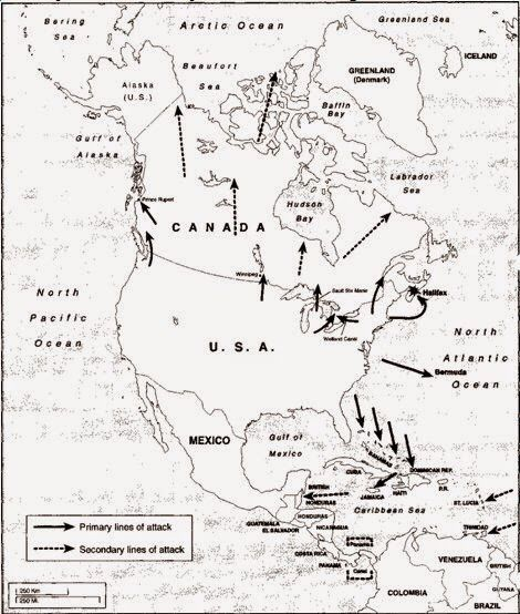 War Plan Scarlet 1930 S Contingency Plan For Us Invasion Of Canada And British Caribbean Map Northamerica Canada Usa Map Pearl Harbor Spain History