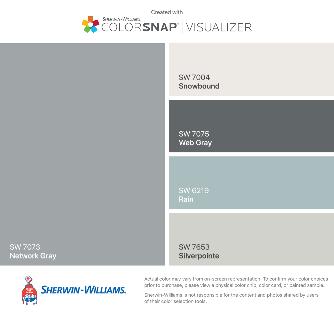 Good Exterior Palette Sherwin Williams Network Gray Sw 7073