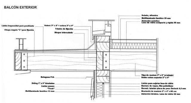 Balcon exterior detalles constructivos pinterest for Balcones madera exterior