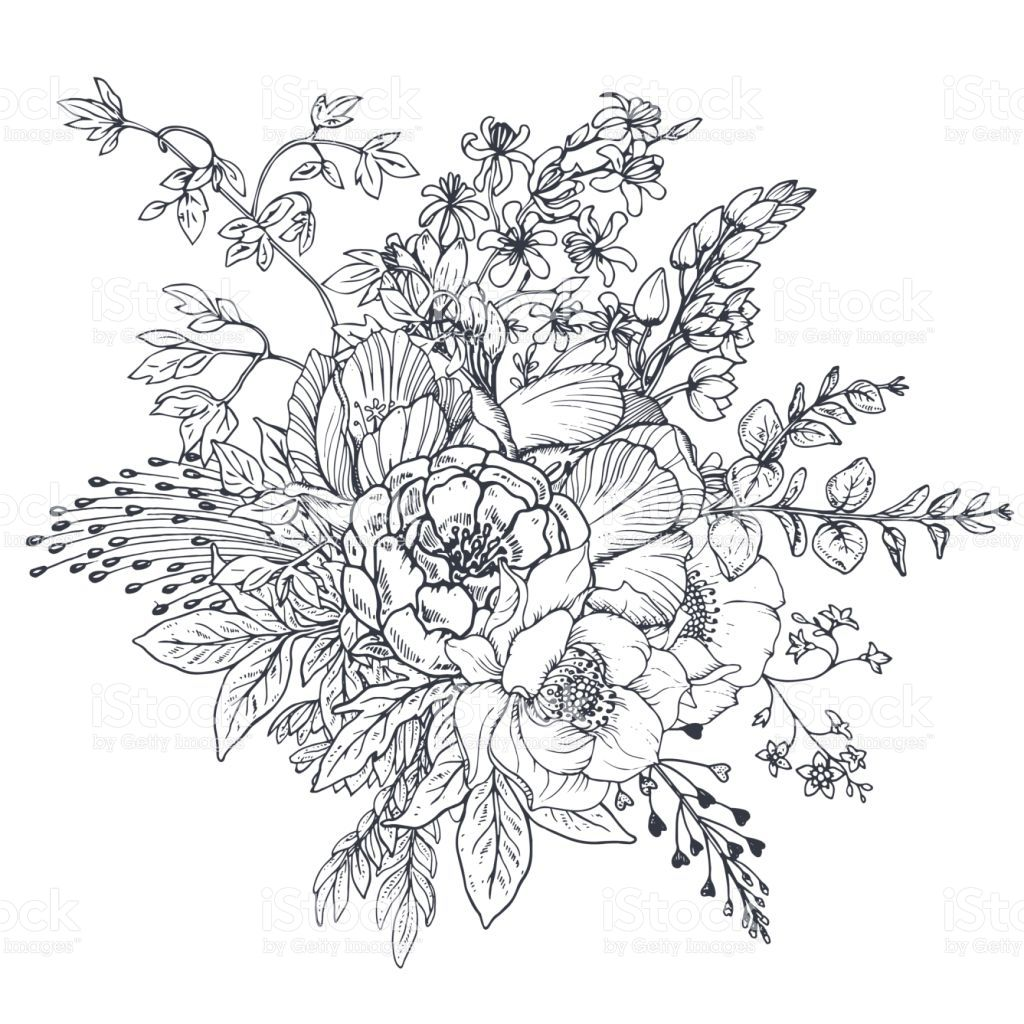 Floral composition bouquet with hand drawn flowers and plants flori - Dessin vegetation ...