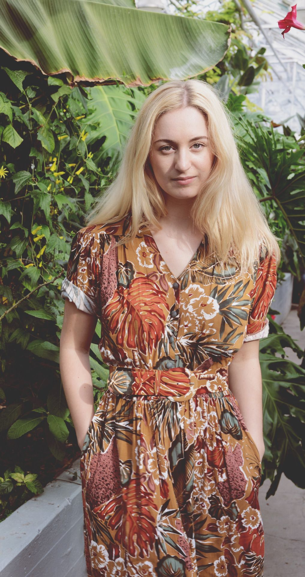 Vintage Safari Floral Dress from the 1980s