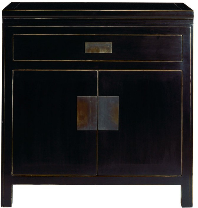 Large Oriental Black Lacquer Bedside Cabinet Table