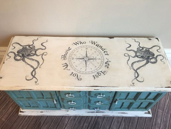 Large Hand Painted Nautical Theme Vintage Jewelry Box Octopus