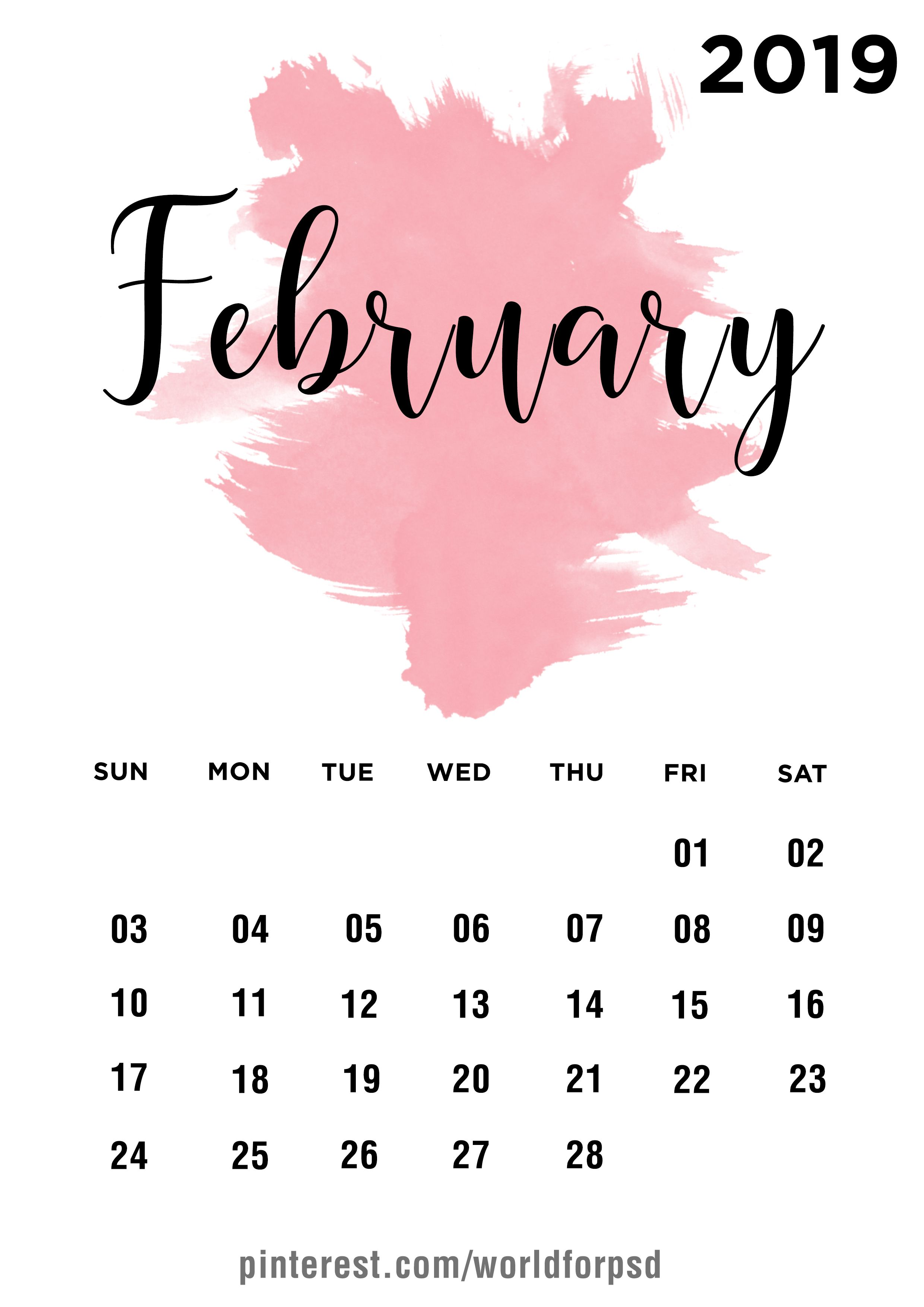 February 2019 Calendar Design Calendar Calendarideas Newyear