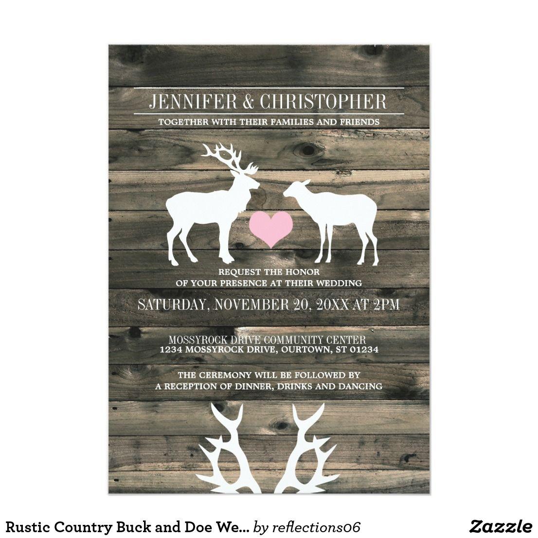 Rustic Country Buck And Doe Wedding Invitation Weddingideas