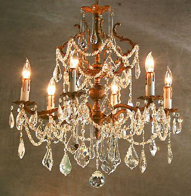 Vintage-BRONZE-GILT-EUROPEAN-CRYSTAL-CHANDELIER-c-1940s-Lumiere-Magnifique