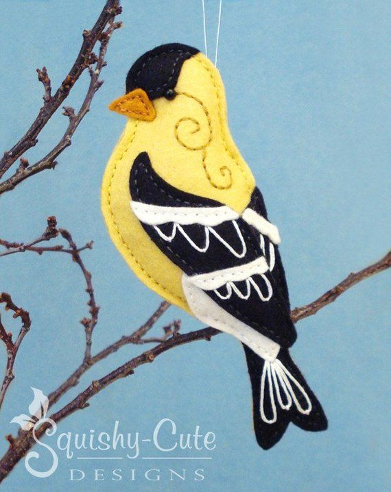 Goldfinch Sewing Pattern PDF - Backyard Bird Stuffed Ornament - Felt Plushie - Gordon the Goldfinch - Instant Download #feltbirds