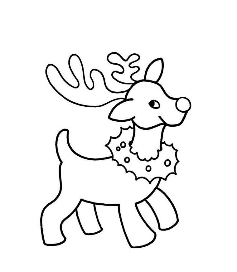 Photo of Renna da colorare, animale con ghirlanda intorno al collo, disegno a matita