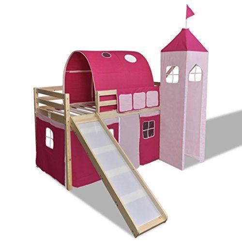 Cama De Dos Pisos Con Escalera Y Tobogán Princesa Rosa Castillo Temática Color Natural Ver Oferta Https C Childrens Loft Beds High Sleeper Bed Kid Beds