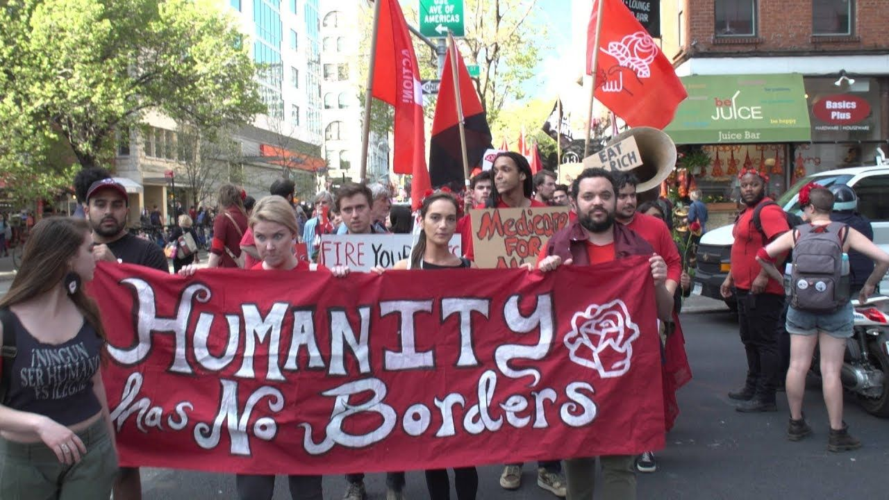 With Labor Immigrant Rights Under Attack May Day Protesters Rally In Nyc Workers Day International Workers Day Protest