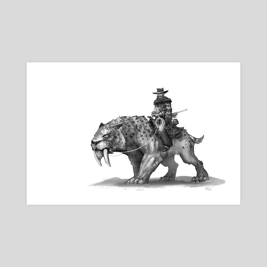 Smilodon Bandit An Art Print By Shaun Keenan Art Dinosaur Art Art Prints