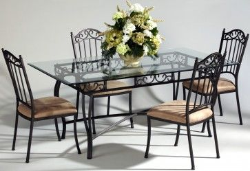 Chintaly 0710 Collection 5 Piece Dining Room Set Rectangular Table Wrought Iron Dining Table Metal Dining Chairs Iron Table