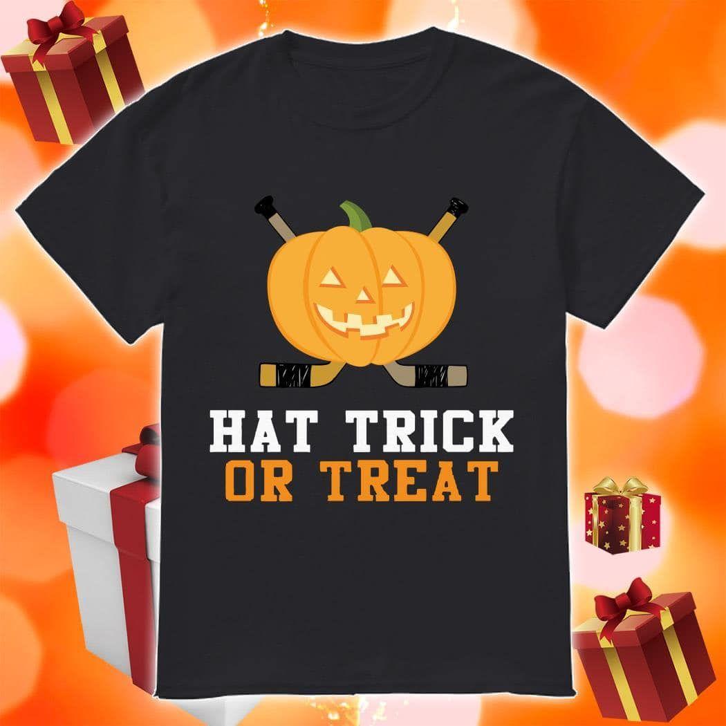 Pumpkin Hockey Hat Trick Or Treat Shirt Birthday Shirts Idea Store Hockey Hats Shirt Gift Birthday Shirts